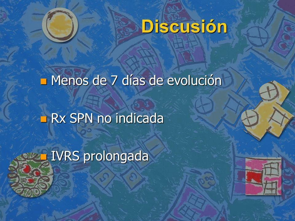 Discusión n Menos de 7 días de evolución n Rx SPN no indicada n IVRS prolongada