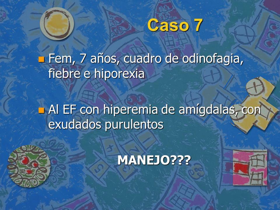 Caso 7 n Fem, 7 años, cuadro de odinofagia, fiebre e hiporexia n Al EF con hiperemia de amígdalas, con exudados purulentos MANEJO???