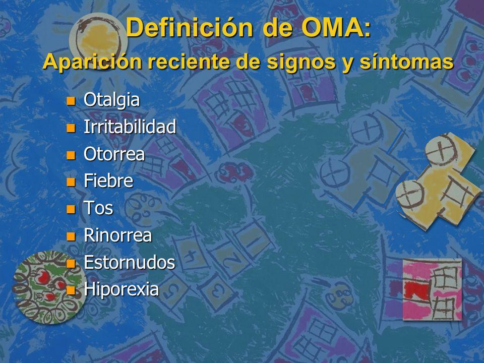 Definición de OMA: Presencia de efusión del oído medio n Abombamiento de la membrana timpánica n Movilidad de la MT ausente o disminuida n Opacidad de la MT n Nivel hidroaéreo detrás de la MT n Otorrea
