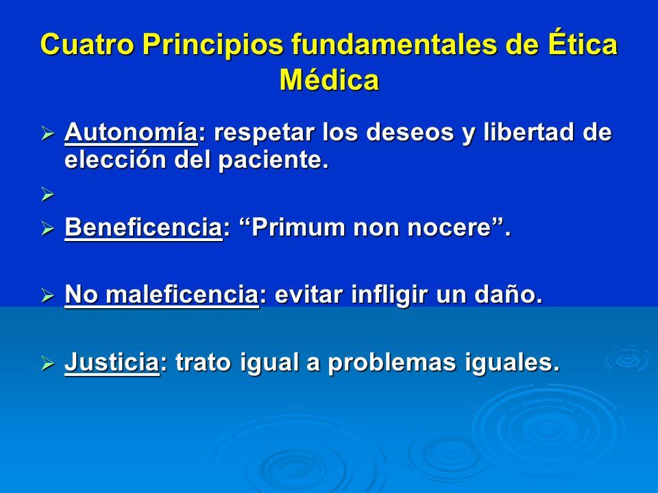 Cuatro Principios fundamentales de Ética Médica Autonomía: respetar los deseos y libertad de elección del paciente. Autonomía: respetar los deseos y l