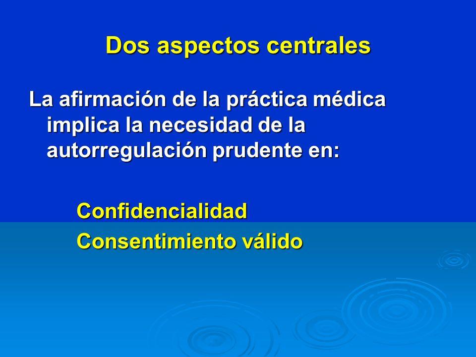 Dos aspectos centrales La afirmación de la práctica médica implica la necesidad de la autorregulación prudente en: Confidencialidad Consentimiento vál