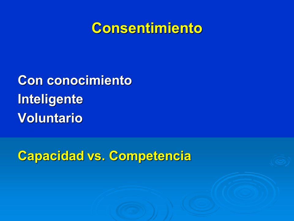 Consentimiento Con conocimiento InteligenteVoluntario Capacidad vs. Competencia