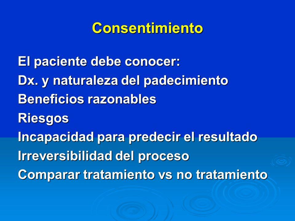 Consentimiento El paciente debe conocer: Dx. y naturaleza del padecimiento Beneficios razonables Riesgos Incapacidad para predecir el resultado Irreve
