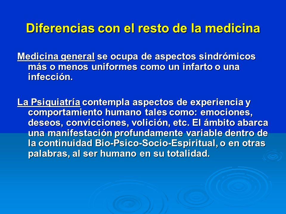 Diferencias con el resto de la medicina Medicina general se ocupa de aspectos sindrómicos más o menos uniformes como un infarto o una infección. La Ps