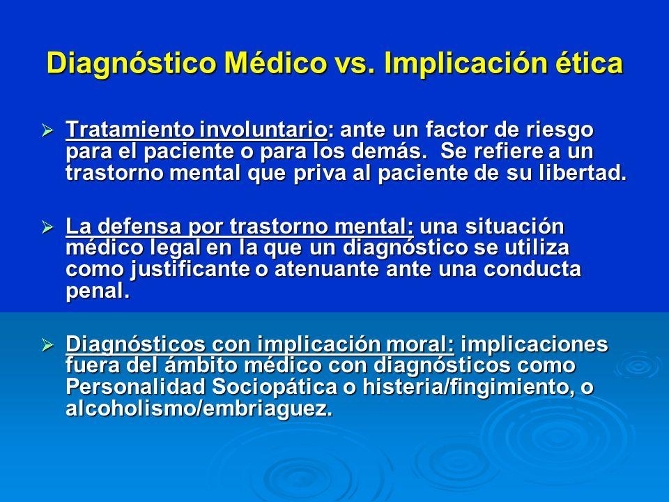 Diagnóstico Médico vs. Implicación ética Tratamiento involuntario: ante un factor de riesgo para el paciente o para los demás. Se refiere a un trastor