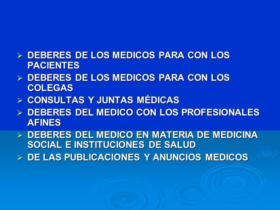 DEBERES DE LOS MEDICOS PARA CON LOS PACIENTES DEBERES DE LOS MEDICOS PARA CON LOS PACIENTES DEBERES DE LOS MEDICOS PARA CON LOS COLEGAS DEBERES DE LOS