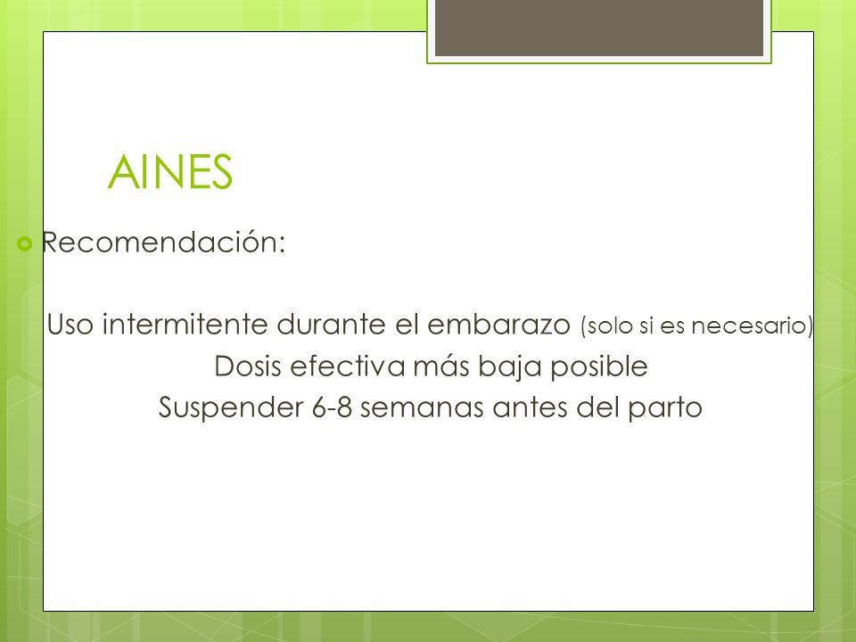 AINES Recomendación: Uso intermitente durante el embarazo (solo si es necesario) Dosis efectiva más baja posible Suspender 6-8 semanas antes del parto