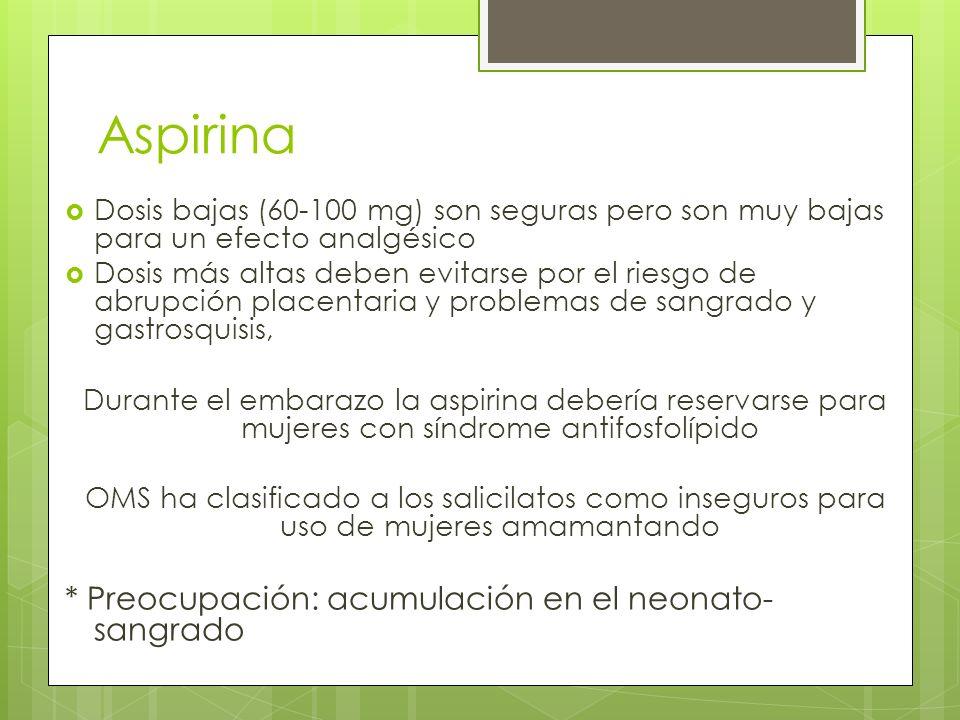 Aspirina Dosis bajas (60-100 mg) son seguras pero son muy bajas para un efecto analgésico Dosis más altas deben evitarse por el riesgo de abrupción pl