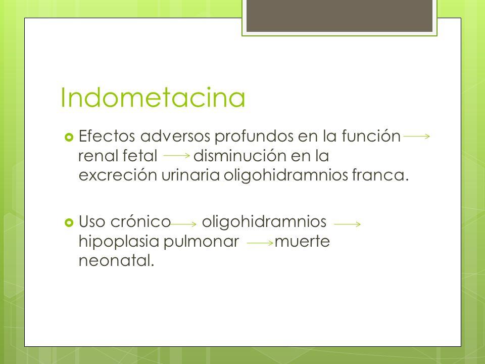 Indometacina Efectos adversos profundos en la función renal fetal disminución en la excreción urinaria oligohidramnios franca. Uso crónico oligohidram