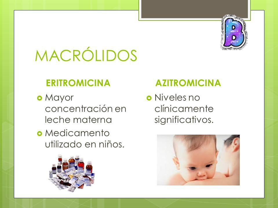 MACRÓLIDOS ERITROMICINA Mayor concentración en leche materna Medicamento utilizado en niños. AZITROMICINA Niveles no clínicamente significativos.