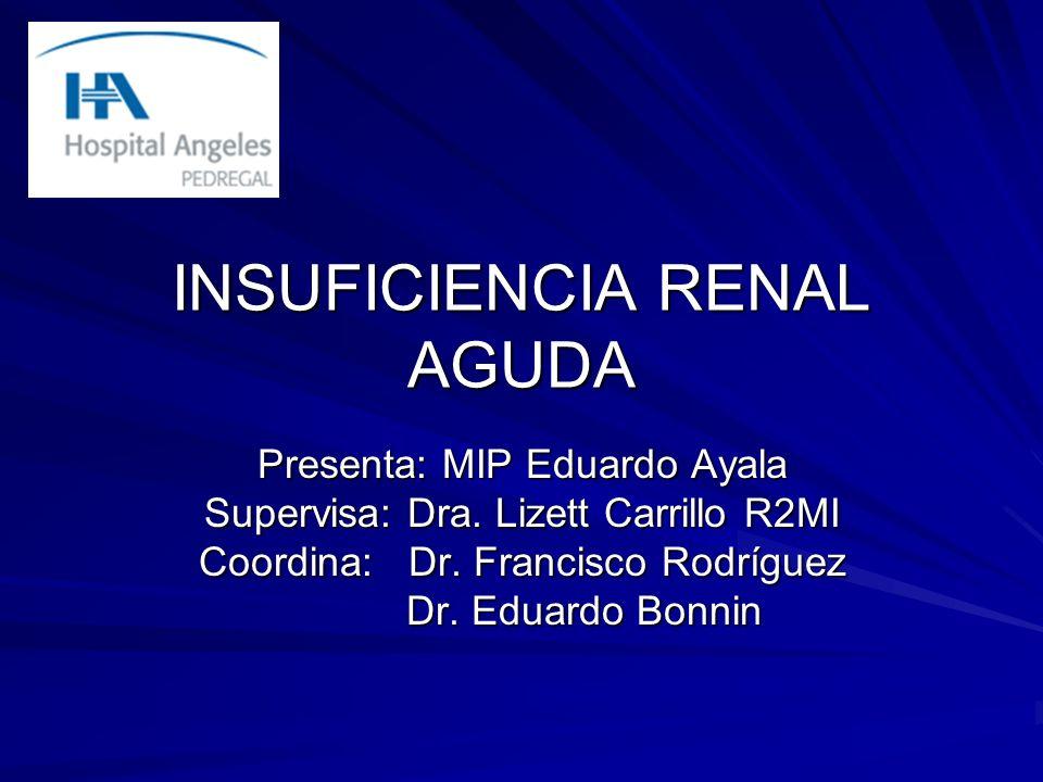 INSUFICIENCIA RENAL AGUDA Presenta: MIP Eduardo Ayala Supervisa: Dra. Lizett Carrillo R2MI Coordina: Dr. Francisco Rodríguez Dr. Eduardo Bonnin Dr. Ed