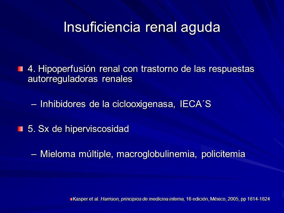 Insuficiencia renal aguda 4. Hipoperfusión renal con trastorno de las respuestas autorreguladoras renales –Inhibidores de la ciclooxigenasa, IECA´S 5.