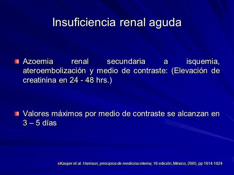 Insuficiencia renal aguda Azoemia renal secundaria a isquemia, ateroembolización y medio de contraste: (Elevación de creatinina en 24 - 48 hrs.) Valor
