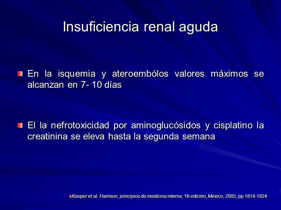 Insuficiencia renal aguda En la isquemia y ateroembólos valores máximos se alcanzan en 7- 10 días El la nefrotoxicidad por aminoglucósidos y cisplatin