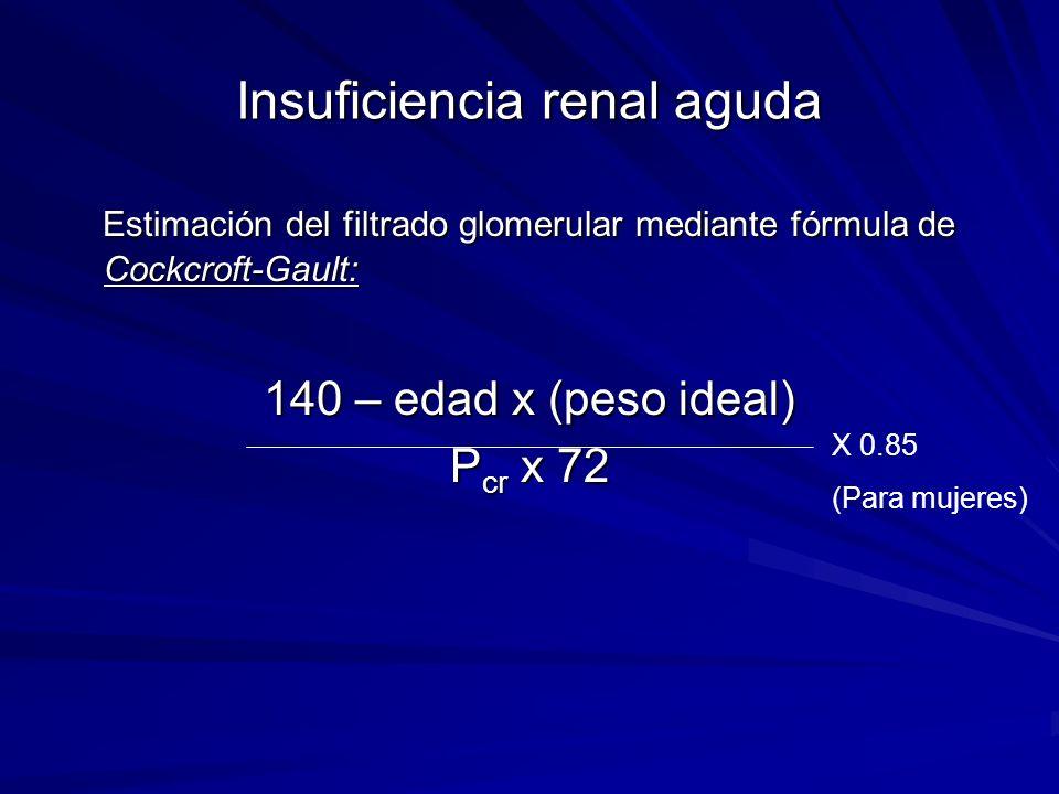 Insuficiencia renal aguda Estimación del filtrado glomerular mediante fórmula de Cockcroft-Gault: Estimación del filtrado glomerular mediante fórmula