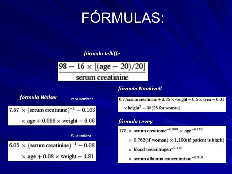 FÓRMULAS: fórmula Walser Para Hombres Para mujeres fórmula Jelliffe fórmula Nankivell fórmula Levey