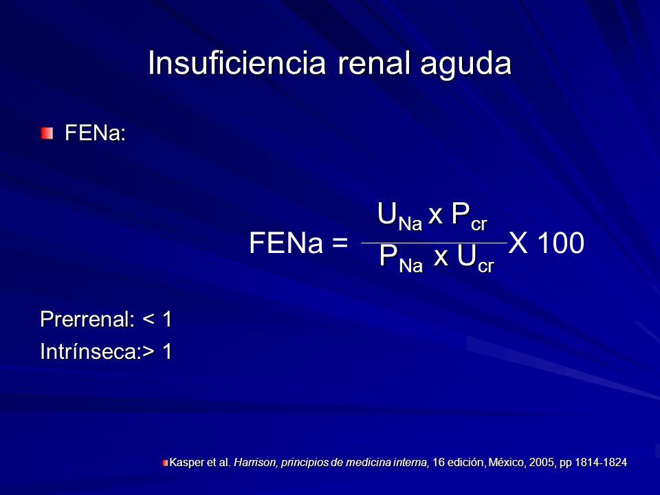 Insuficiencia renal aguda FENa: U Na x P cr U Na x P cr P Na x U cr P Na x U cr Prerrenal: < 1 Intrínseca:> 1 X 100FENa = Kasper et al. Harrison, prin