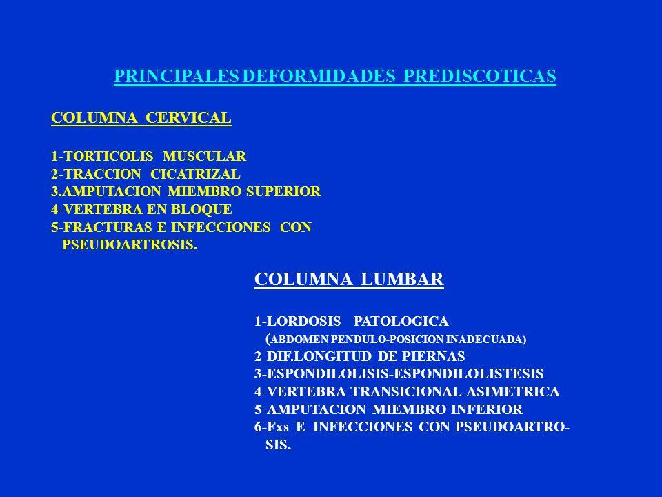 PRINCIPALES DEFORMIDADES PREDISCOTICAS COLUMNA CERVICAL 1-TORTICOLIS MUSCULAR 2-TRACCION CICATRIZAL 3.AMPUTACION MIEMBRO SUPERIOR 4-VERTEBRA EN BLOQUE