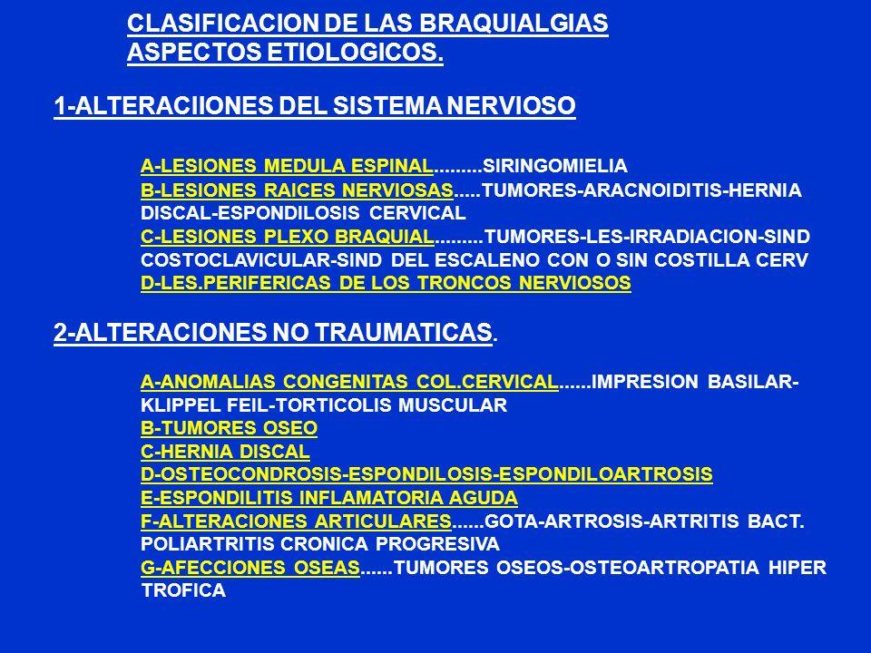 CLASIFICACION DE LAS BRAQUIALGIAS ASPECTOS ETIOLOGICOS. 1-ALTERACIIONES DEL SISTEMA NERVIOSO A-LESIONES MEDULA ESPINAL.........SIRINGOMIELIA B-LESIONE