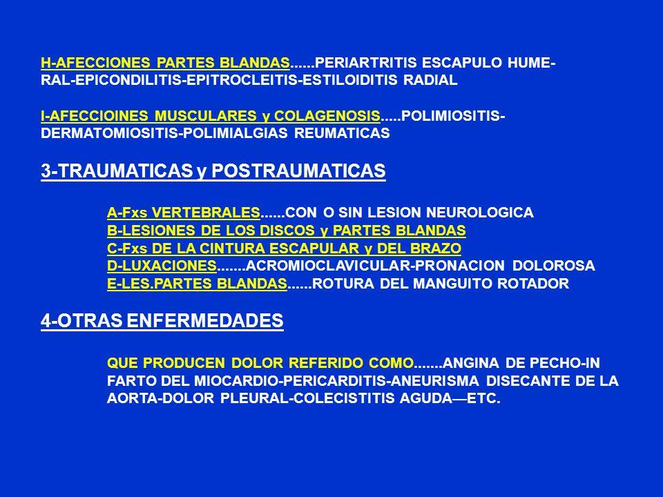 H-AFECCIONES PARTES BLANDAS......PERIARTRITIS ESCAPULO HUME- RAL-EPICONDILITIS-EPITROCLEITIS-ESTILOIDITIS RADIAL I-AFECCIOINES MUSCULARES y COLAGENOSI