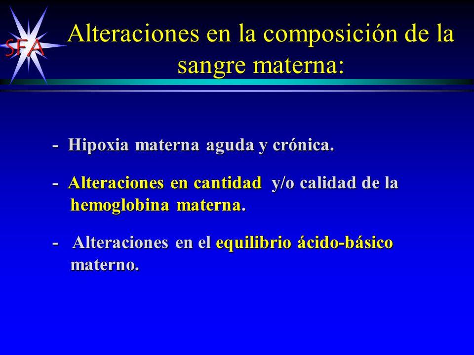 SFA Alteraciones en la composición de la sangre materna: - Hipoxia materna aguda y crónica. - Alteraciones en cantidad y/o calidad de la hemoglobina m