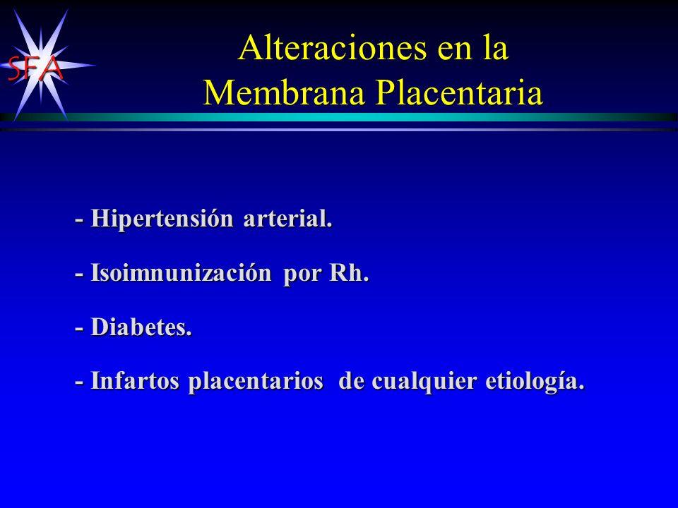 SFA Alteraciones en la Membrana Placentaria - Hipertensión arterial. - Isoimnunización por Rh. - Diabetes. - Infartos placentarios de cualquier etiolo