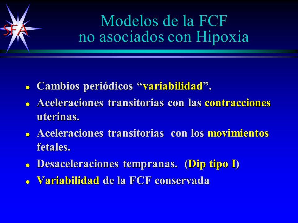 SFA Modelos de la FCF no asociados con Hipoxia l Cambios periódicos variabilidad. l Aceleraciones transitorias con las contracciones uterinas. l Acele