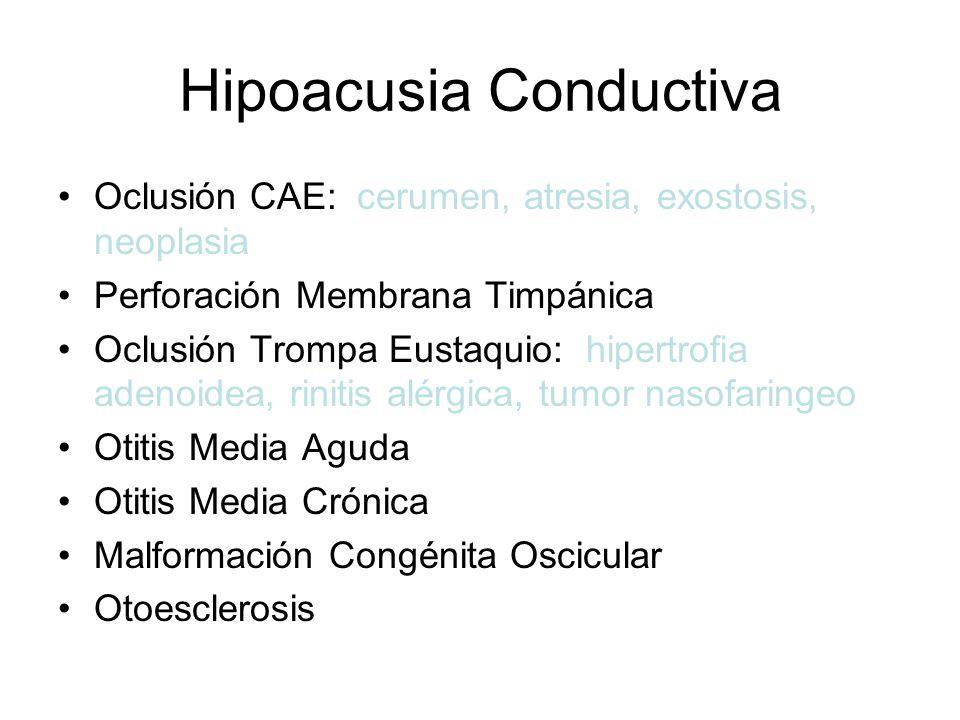 Hipoacusia Conductiva Oclusión CAE: cerumen, atresia, exostosis, neoplasia Perforación Membrana Timpánica Oclusión Trompa Eustaquio: hipertrofia adeno