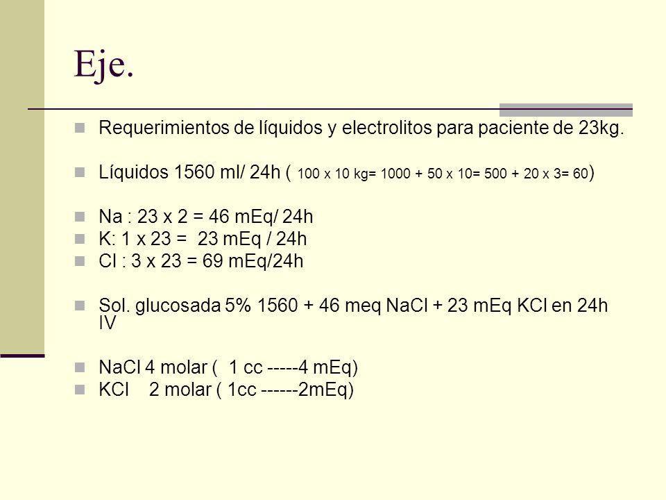 Eje. Requerimientos de líquidos y electrolitos para paciente de 23kg. Líquidos 1560 ml/ 24h ( 100 x 10 kg= 1000 + 50 x 10= 500 + 20 x 3= 60 ) Na : 23