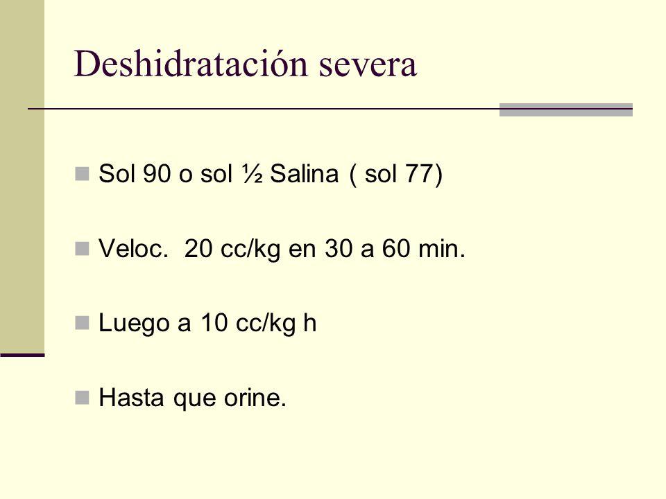 Deshidratación severa Sol 90 o sol ½ Salina ( sol 77) Veloc. 20 cc/kg en 30 a 60 min. Luego a 10 cc/kg h Hasta que orine.