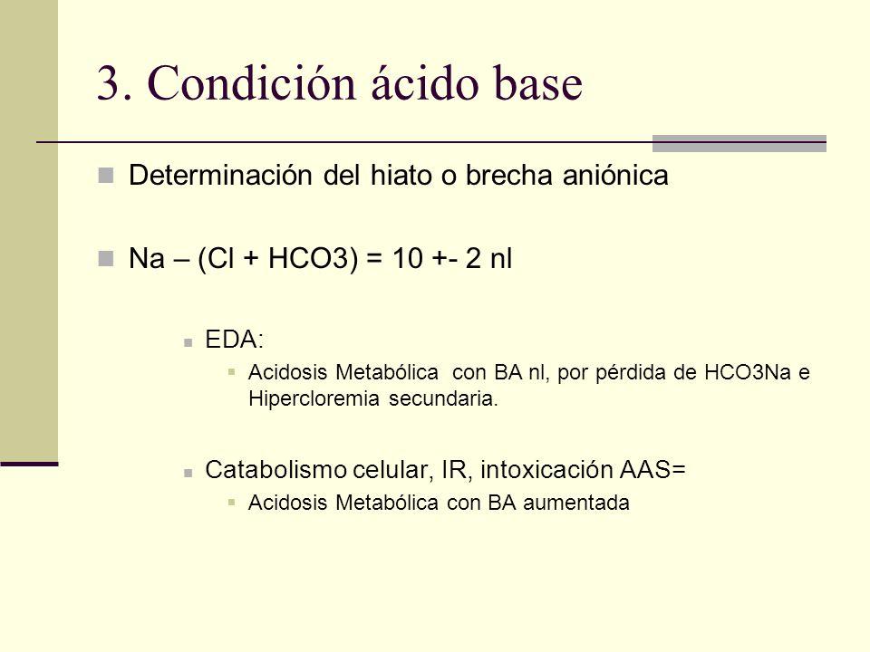3. Condición ácido base Determinación del hiato o brecha aniónica Na – (Cl + HCO3) = 10 +- 2 nl EDA: Acidosis Metabólica con BA nl, por pérdida de HCO