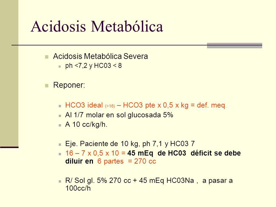 Acidosis Metabólica Acidosis Metabólica Severa ph <7,2 y HC03 < 8 Reponer: HCO3 ideal (>16) – HCO3 pte x 0,5 x kg = def. meq. Al 1/7 molar en sol gluc