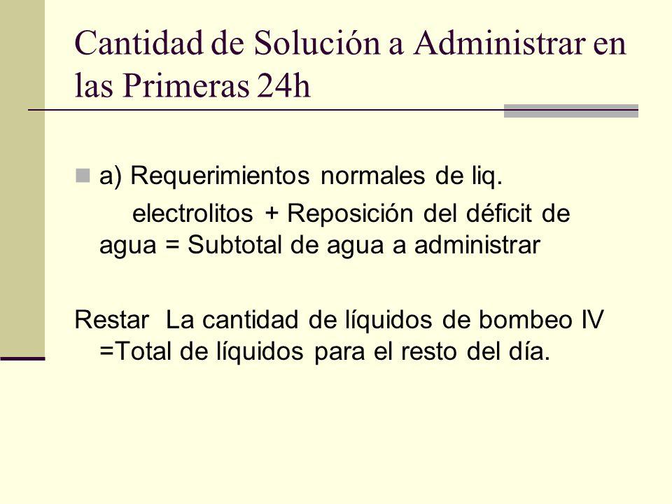 Cantidad de Solución a Administrar en las Primeras 24h a) Requerimientos normales de liq. electrolitos + Reposición del déficit de agua = Subtotal de