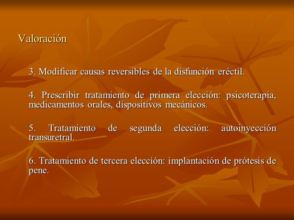 Valoración 3. Modificar causas reversibles de la disfunción eréctil. 4. Prescribir tratamiento de primera elección: psicoterapia, medicamentos orales,
