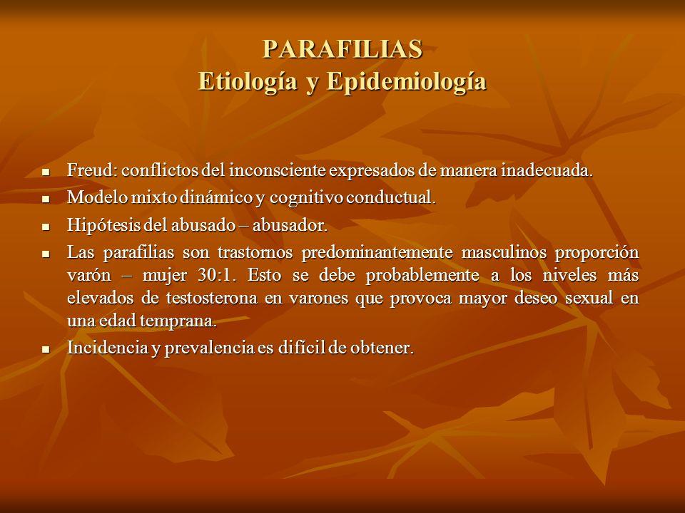 PARAFILIAS Etiología y Epidemiología Freud: conflictos del inconsciente expresados de manera inadecuada. Freud: conflictos del inconsciente expresados