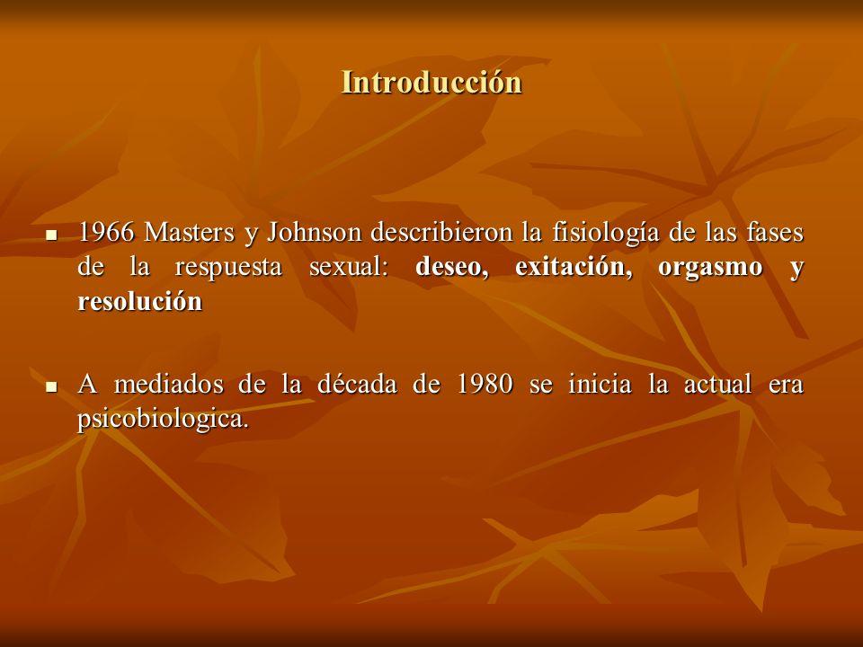 Introducción 1966 Masters y Johnson describieron la fisiología de las fases de la respuesta sexual: deseo, exitación, orgasmo y resolución 1966 Master