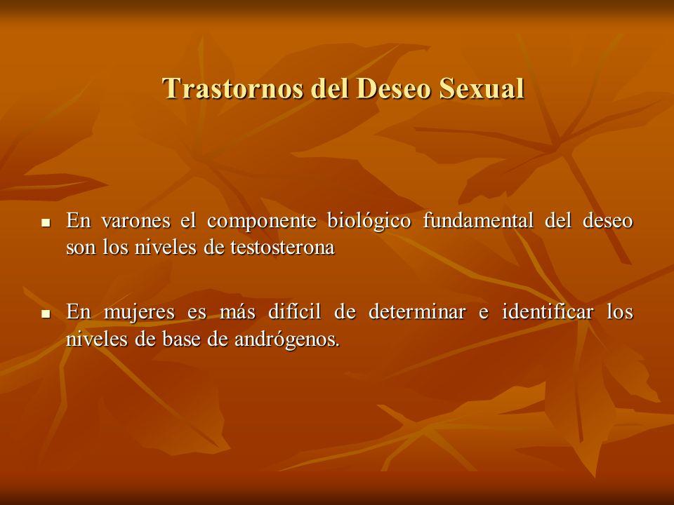 Trastornos del Deseo Sexual En varones el componente biológico fundamental del deseo son los niveles de testosterona En varones el componente biológic