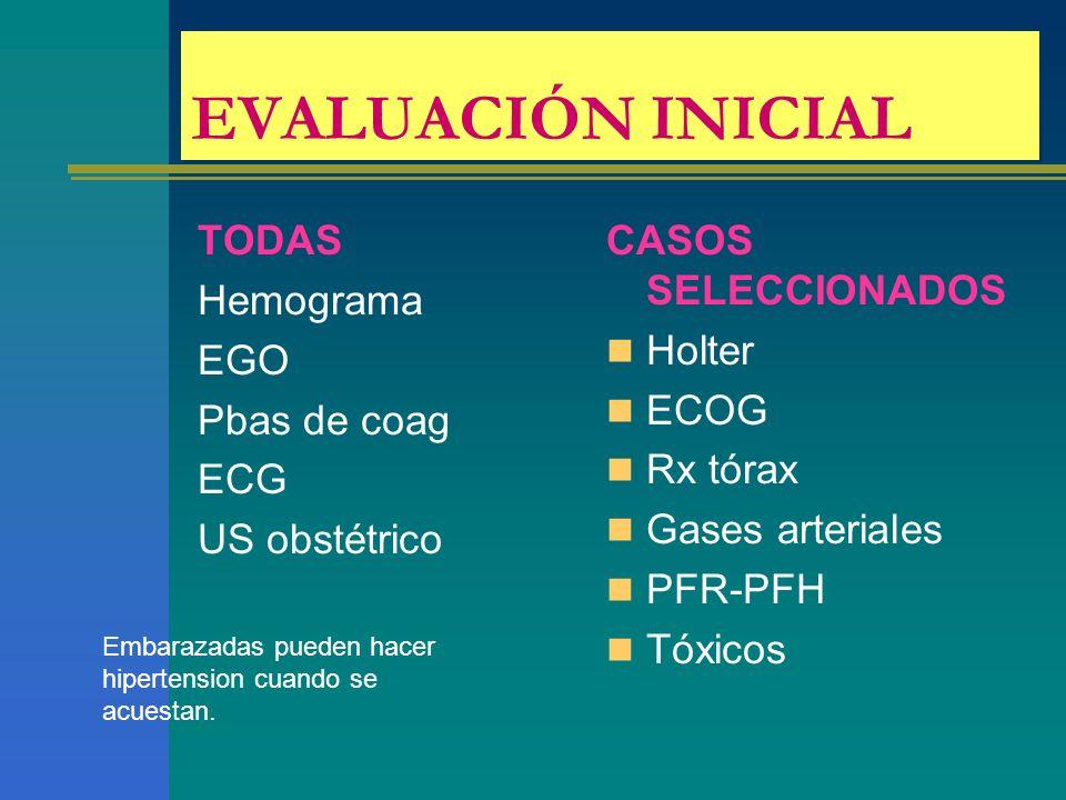 EVALUACIÓN INICIAL TODAS Hemograma EGO Pbas de coag ECG US obstétrico CASOS SELECCIONADOS Holter ECOG Rx tórax Gases arteriales PFR-PFH Tóxicos Embarazadas pueden hacer hipertension cuando se acuestan.