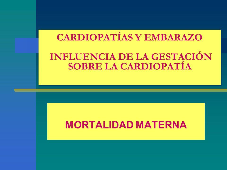 CARDIOPATÍAS Y EMBARAZO INFLUENCIA DE LA GESTACIÓN SOBRE LA CARDIOPATÍA MORTALIDAD MATERNA