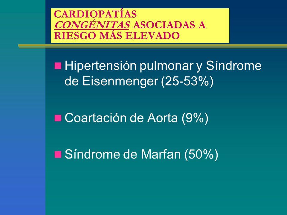 CARDIOPATÍAS CONGÉNITAS ASOCIADAS A RIESGO MÁS ELEVADO Hipertensión pulmonar y Síndrome de Eisenmenger (25-53%) Coartación de Aorta (9%) Síndrome de M