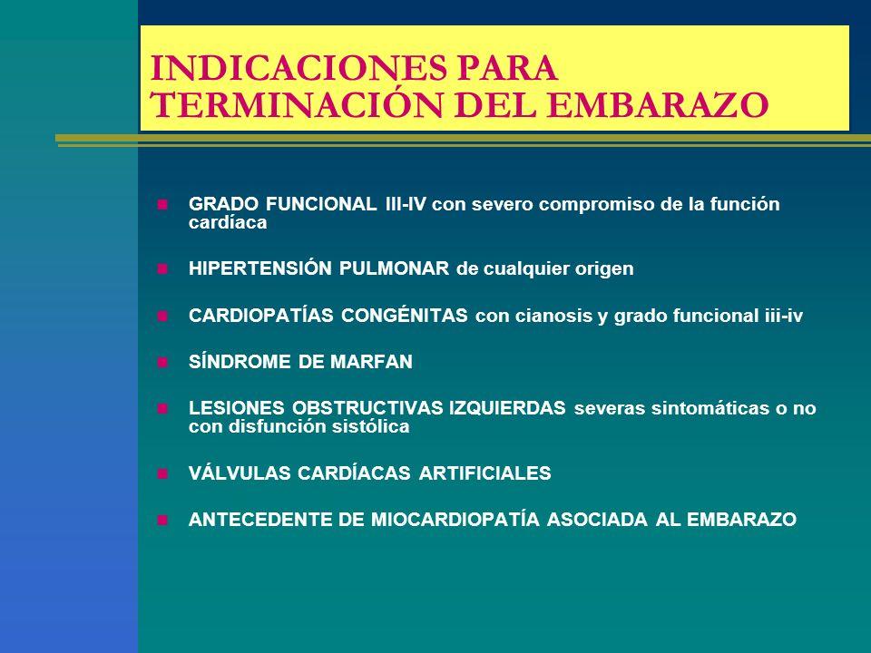 INDICACIONES PARA TERMINACIÓN DEL EMBARAZO GRADO FUNCIONAL III-IV con severo compromiso de la función cardíaca HIPERTENSIÓN PULMONAR de cualquier orig