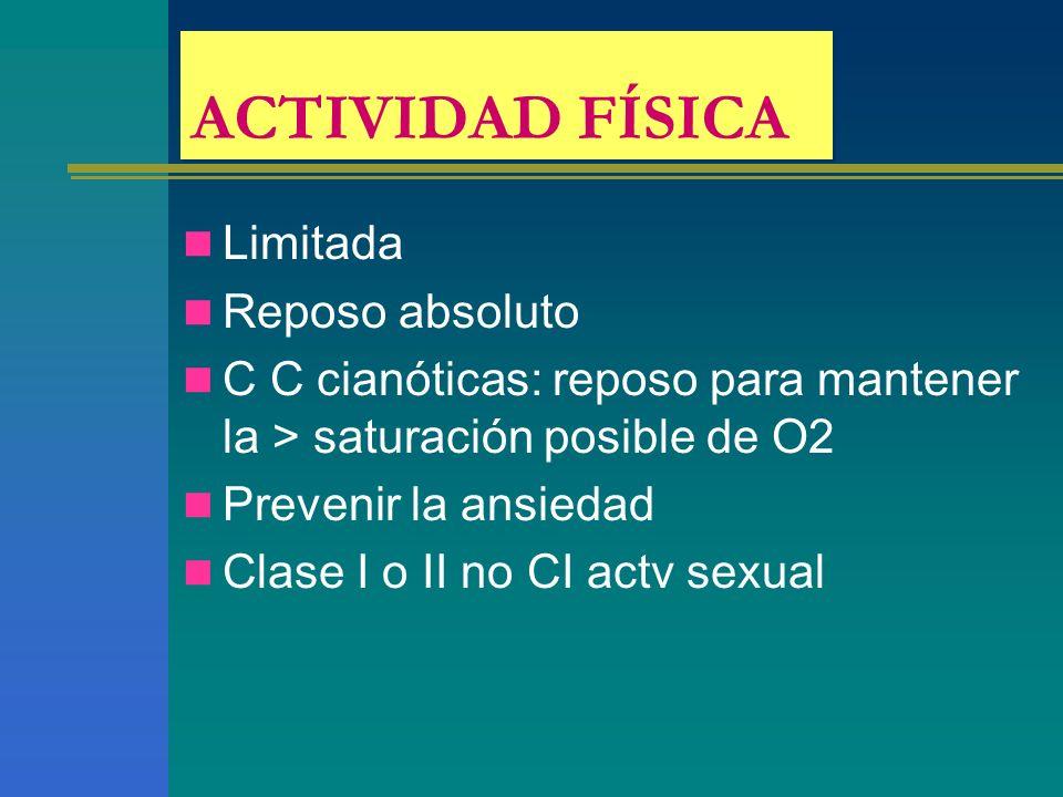 ACTIVIDAD FÍSICA Limitada Reposo absoluto C C cianóticas: reposo para mantener la > saturación posible de O2 Prevenir la ansiedad Clase I o II no CI a