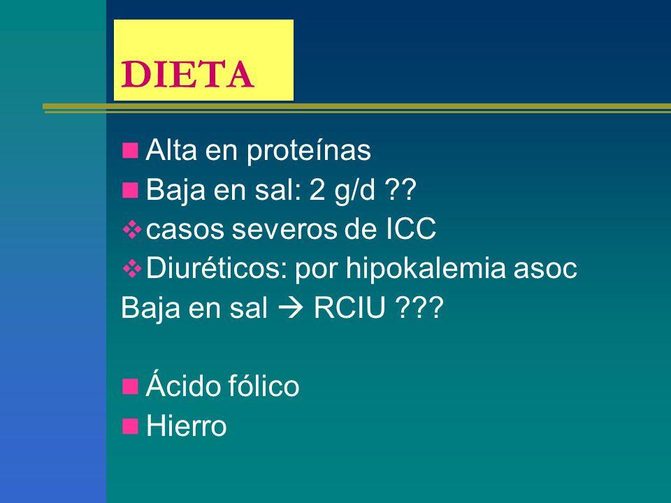 DIETA Alta en proteínas Baja en sal: 2 g/d ?? casos severos de ICC Diuréticos: por hipokalemia asoc Baja en sal RCIU ??? Ácido fólico Hierro