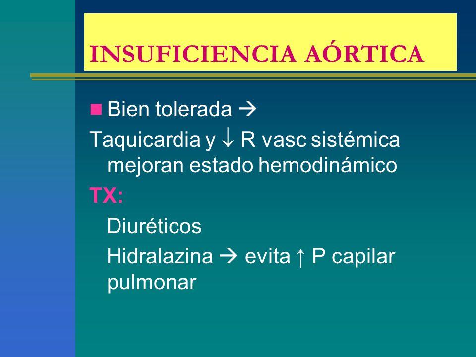INSUFICIENCIA AÓRTICA Bien tolerada Taquicardia y R vasc sistémica mejoran estado hemodinámico TX: Diuréticos Hidralazina evita P capilar pulmonar