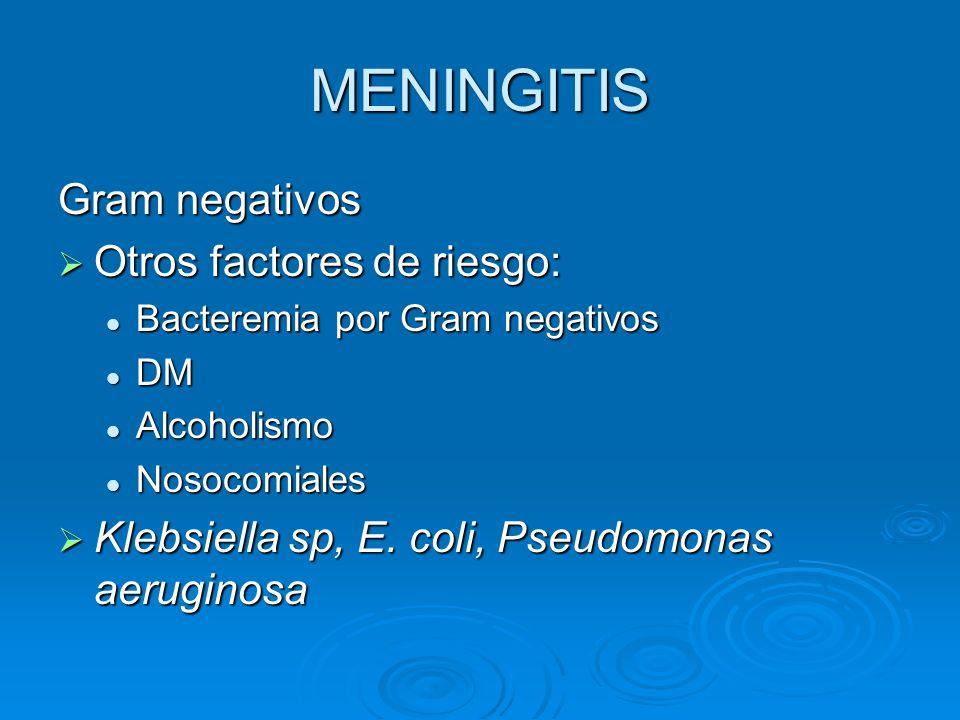 MENINGITIS Gram negativos Otros factores de riesgo: Otros factores de riesgo: Bacteremia por Gram negativos Bacteremia por Gram negativos DM DM Alcoho