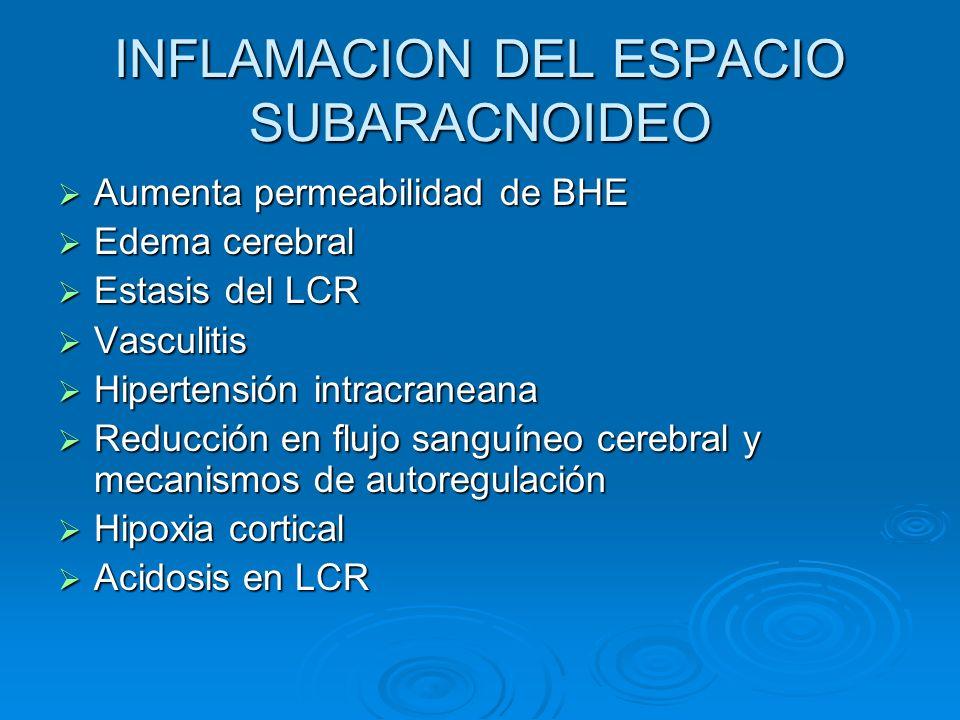 INFLAMACION DEL ESPACIO SUBARACNOIDEO Aumenta permeabilidad de BHE Aumenta permeabilidad de BHE Edema cerebral Edema cerebral Estasis del LCR Estasis
