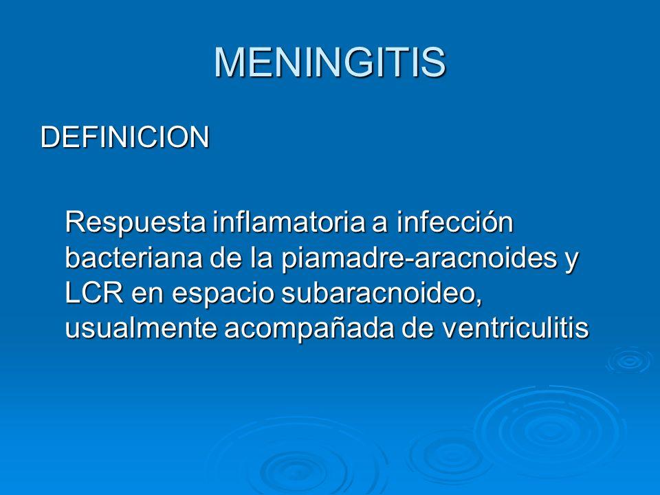 MENINGITIS DEFINICION Respuesta inflamatoria a infección bacteriana de la piamadre-aracnoides y LCR en espacio subaracnoideo, usualmente acompañada de