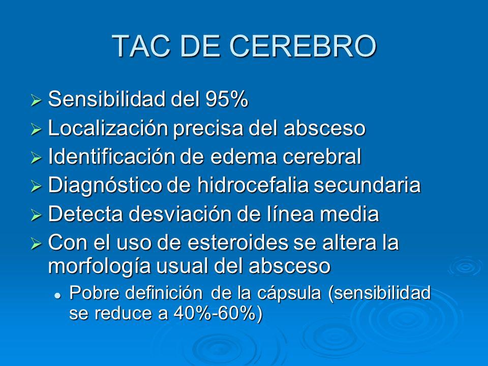 TAC DE CEREBRO Sensibilidad del 95% Sensibilidad del 95% Localización precisa del absceso Localización precisa del absceso Identificación de edema cer