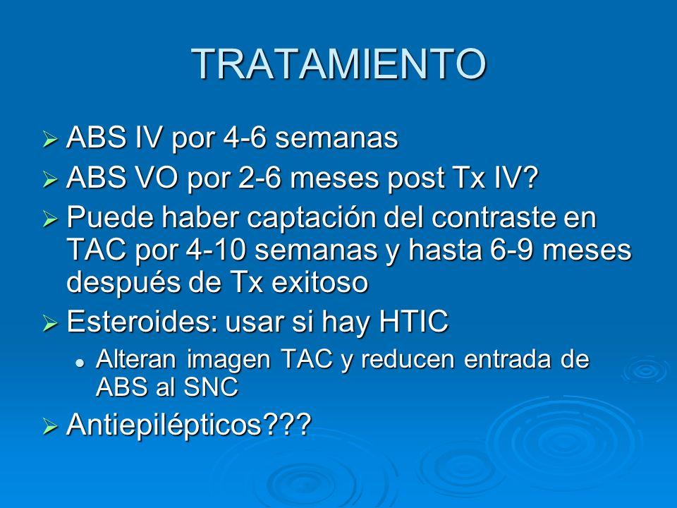 TRATAMIENTO ABS IV por 4-6 semanas ABS IV por 4-6 semanas ABS VO por 2-6 meses post Tx IV? ABS VO por 2-6 meses post Tx IV? Puede haber captación del