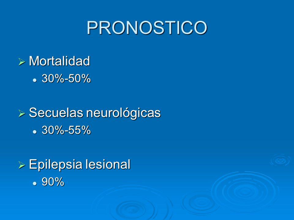 PRONOSTICO Mortalidad Mortalidad 30%-50% 30%-50% Secuelas neurológicas Secuelas neurológicas 30%-55% 30%-55% Epilepsia lesional Epilepsia lesional 90%